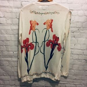 Guinevere swing cardigan white watercolor flowers